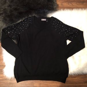 Neiman Marcus Black Studded Sweater Large